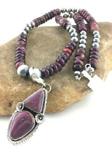 Stunning-Sterling-Silver-Navajo-Pearls-PURPLE-Spiny-OYSTER-Necklace-Pendant-8175