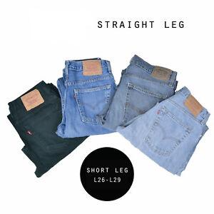 LEVIS-STRAIGHT-SHORT-LEG-JEANS-DENIM-GRADE-A-W30-W32-W34-W36-W38-W40