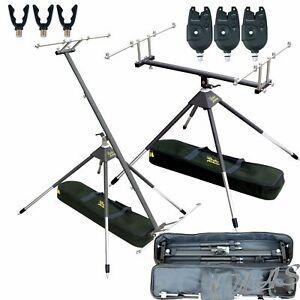 Karpfen-Set-4-Bein-Rod-Pod-360-Drehbar-3X-Bissmelder-3X-Flexi-Rutenauflagen-Kva