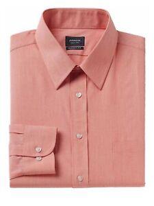 Arrow-Mens-Long-Sleeve-Wrinkle-Free-Classic-Fit-Dress-Shirt-Orange-Fine-Striped