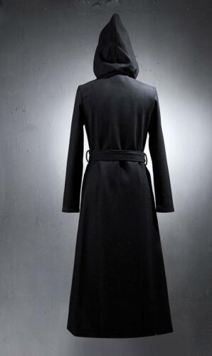 Mens Hood Parka Thicken Chinese Knot Button Gothic Wool Blend Jacket Trench Coat