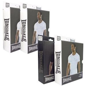Lonsdale-T-Shirt-2x-Pack-M-L-XL-XXL-Unterhemd-schwarz-weiss-Muscle-Stretch