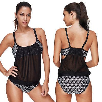 Lady Banded Print Bikini Tankini Top + Triangle Briefs 2pc Set Swimsuit Swimwear