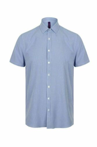 Mens Henbury Fitted Blouse HB585 Office Smart Buttons Short Sleeve Work Shirt