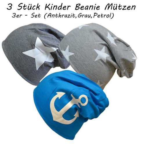 3 Stück Kinder Baumwolle Stern Gr.L Gr 54-59 cm Mütze Junge Mädchen Beanie Long