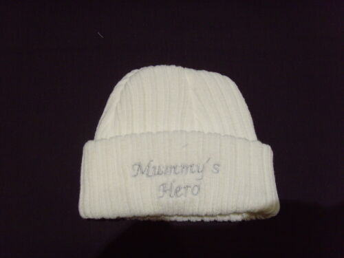 Baby Knitted Wool Embroidered Personalised Hat With Saying Mummy/'s Hero