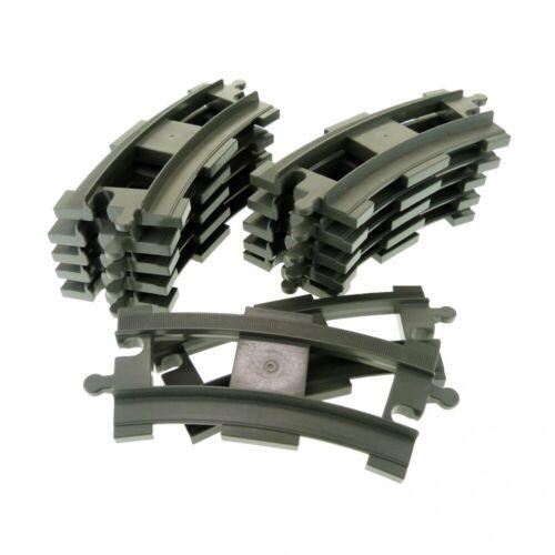 12x Lego Duplo Tracks Curved Curve Alt-Dunkel Grey Railway 637827 6378