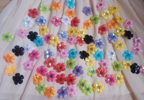 60PCS Embroidered Mixed Colorful Beaded Flower Sew Appliques Ten Color WT55