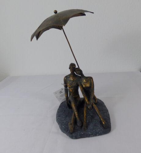 "CASABLANCA  Skulptur  /""Rendevous/""  Poly bronzefarben-schwarze Basis H 31 cm"
