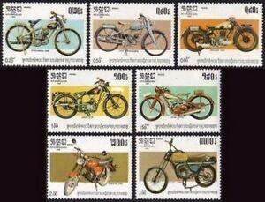CAMBODGE-Kampuchea-N-529-535-Motos-1985-CAMBODIA-Motorcycles-Sc-560-566-MNH
