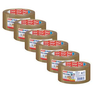 6 x tesa Packband braun Klebeband starkes Paketklebeband für Handabroller