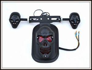 Noir-Mat-feu-stop-support-de-plaque-Skull-moto-custom-quad-trike-scooter