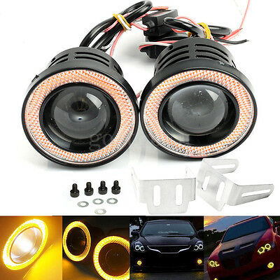 "Pair 3.5"" COB LED Fog Light Projector Car Yellow Angel Eyes Halo Ring DRL Lamp"
