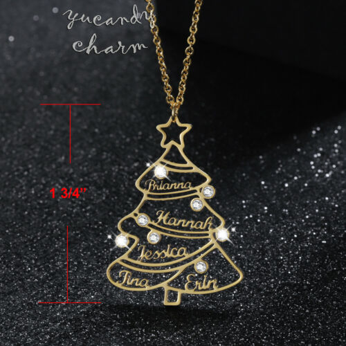 Personalized Rose Gold Custom family names CZ Christmas Tree holiday necklace