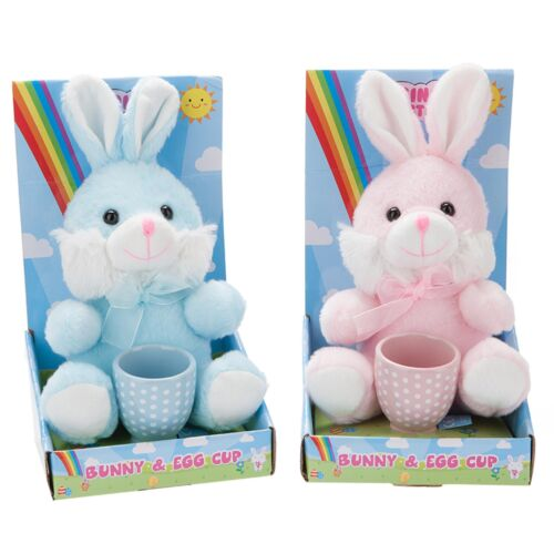 Easter Bunny Soft Toy & Egg Cup Gift Set Blue or Pink
