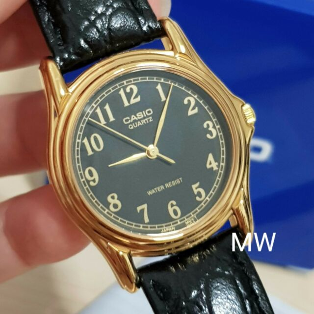Genuine Mtp 1330 Silver Face Magule Men's Leather Watch Casio 1096 Black DIHEW29