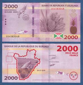 LibéRal Burundi 2000 Francs 2018 Unc P. (52b) New-afficher Le Titre D'origine