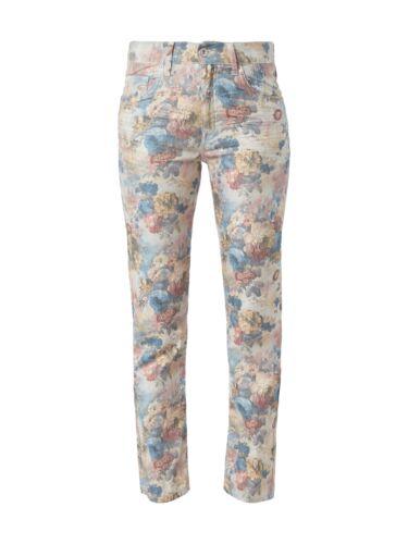 Angels Straight Fit Jeans floral Blumen Muster Hose Stretch Röhre Vintage Damen