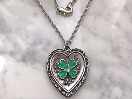 GOOD LUCK IRISH JEWELRY 1 HEART FOUR LEAF CLOVER NECKLACE ALL NEW.