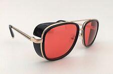 Vtg Red Lens Steampunk Sunglasses Aviator Eyewear Side Cover