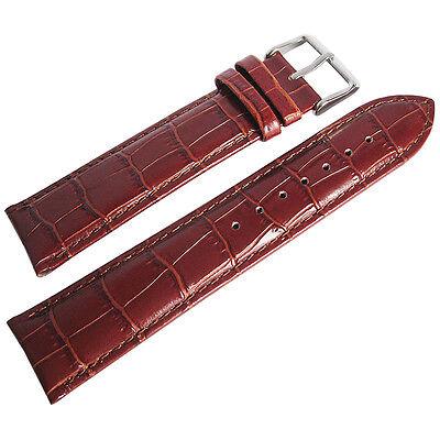 22mm deBeer Mens Long Havana Brown Crocodile-Grain Leather Watch Band Strap