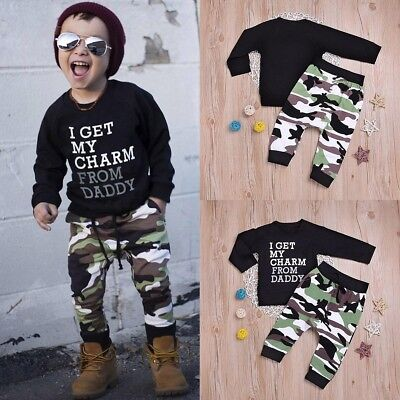 Toddler Infant Kids Baby Boys T Shirt Tops+Camouflage Pants Outfits Clothes Set