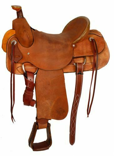 Showman Hard Seat ROPING SADDLE Rough Out Leather  FQHB with Roping Warranty  new sadie
