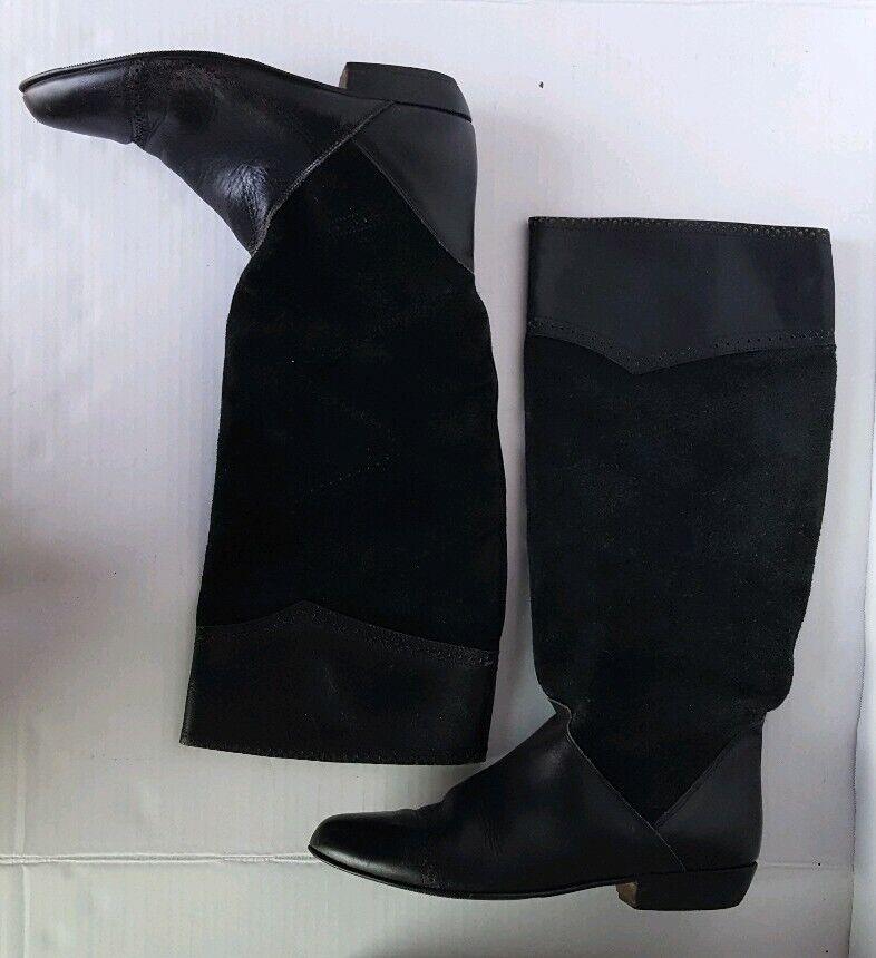 Maria Pia para mujer botas hasta la rodilla plana de cuero negro 8