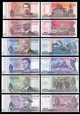 Set 6Pcs Cambodia 100+500+1000+2000+5000+10000 Riels Paper Money,Uncirculated
