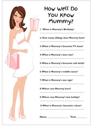 How Well Do You Know Mummy Baby Shower Game//Pink Brunette//Mum// Free Certificate