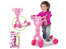 """Bambini Bimbi Ragazze Rosa Giraffa """"Il mio primo Scooter"""" Ride On Toy 1003A"""
