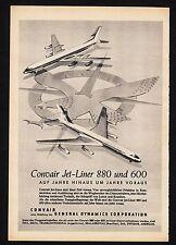3w1500/ Alte Reklame von 1960 - CONVAIR 880 u. 600 Jetliner