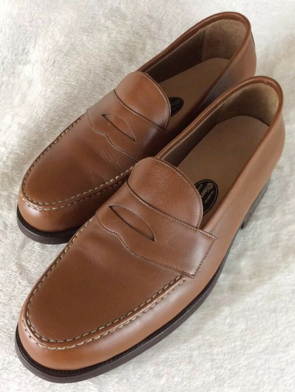 OLIVER MOORE BOOTMAKERS BOOTMAKERS BOOTMAKERS Mens Tan Leather Handmade Penny Loafers shoes 10  Length 6a6c9a