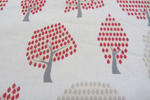 Nouveaux arbres gris//rouge coton rideau//craft tissu
