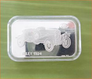 RARE-1-oz-999-Switzerland-Silver-Bar-034-RILEY-1924-ANTIQUE-CAR-COLLECTION-034-C75