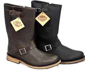 Details about Men harley davidson biker leather clint side zip boots sizes show original title