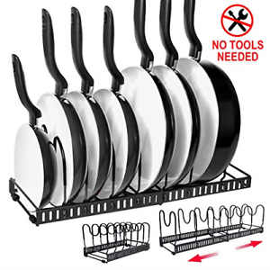 Pull Out Under Cabinet Hanging Pot Pan Lid Rack Cookware ...