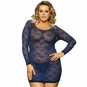 07855ad4e57 Plus Size Lace Long Sleve Chemise Babydoll Women s Lingerie Blue ...