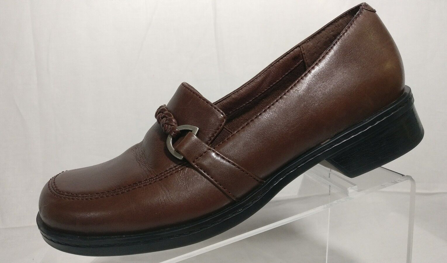 Clarks Brown Leather Silver Horsebit Mary Jane Dress Loafers shoes Women's 7.5 M