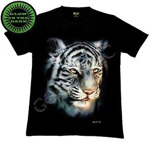 Wild Glow In The Dark T Shirt Tiger face