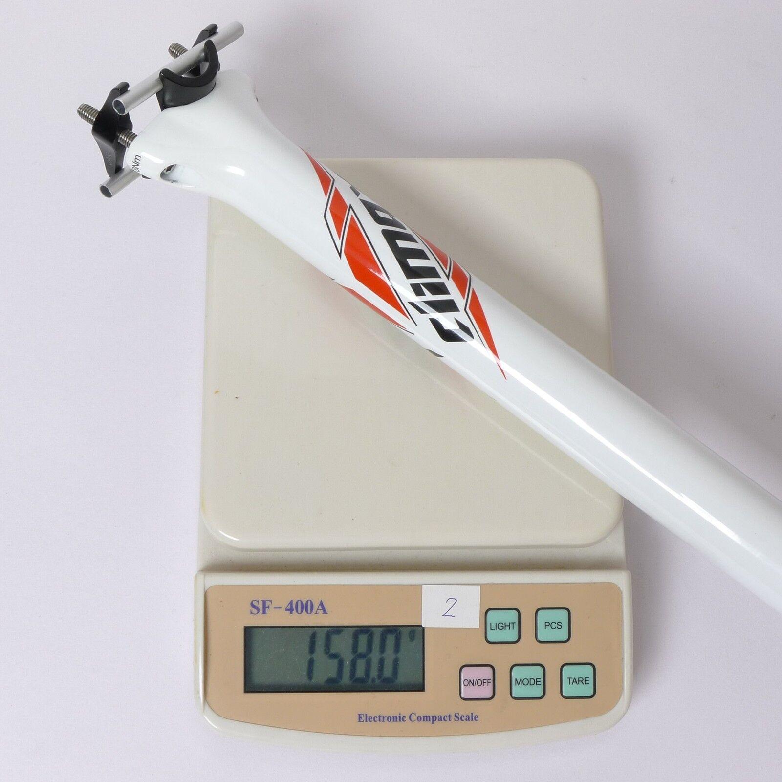 158g,31.6x400mm Climax SP05B carbon Seat Post  Road mtb bike Ti bolt White  zero profit