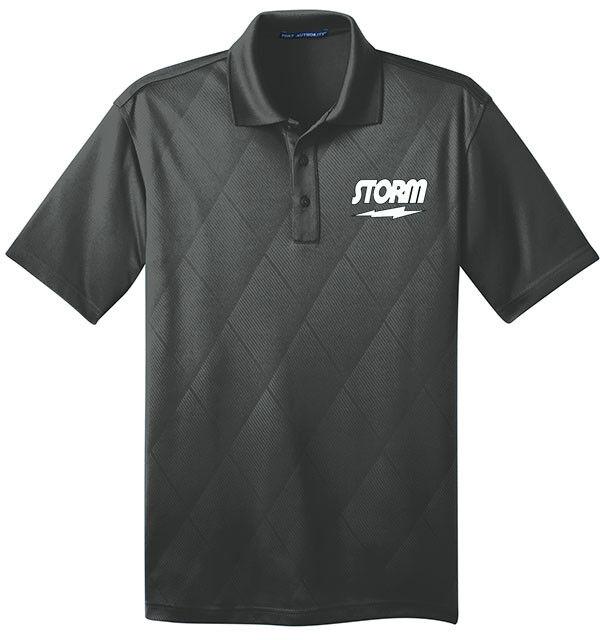 Storm Men's Lucid Performance Polo Bowling Shirt Dri-Fit Argyle Graphite Grey