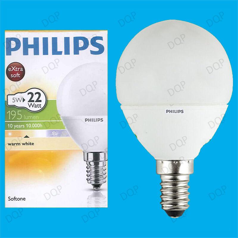 50x 5W Philips CFL Bajo Consumo De Energía larga vida Mini Globo ses E14 Lámpara Bombilla 2700K