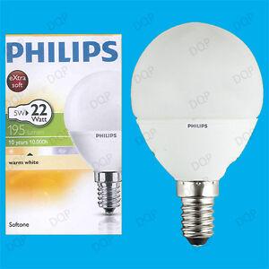 2x 5 W PHILIPS CFL Bassa Energia di lunga vita Mini Globe SES E14 LAMPADINA LUCI 2700K  </span>