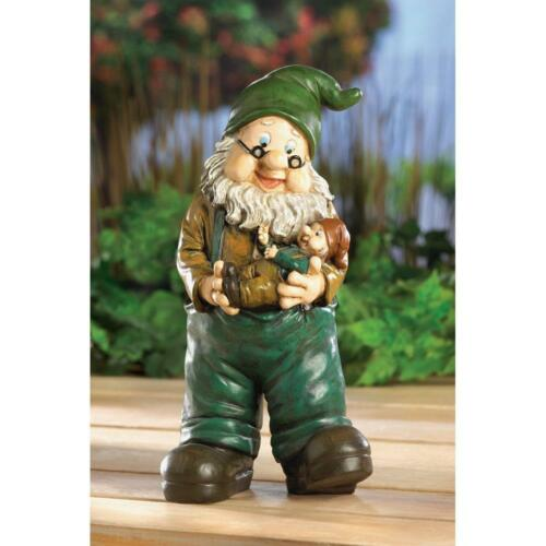 GRANDPA /& baby DAD father son Gnome Garden Statue outdoor lawn Yard Art gift