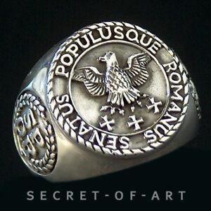 Imperial-Roman-Eagle-SPQR-Silber-Sterling-925-Ring-Roemischer-Adler-Rom