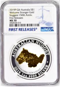 2019-Australia-Silver-Welcome-Stranger-gold-nugget-NGC-MS70-1oz-Coin-gilt-FR
