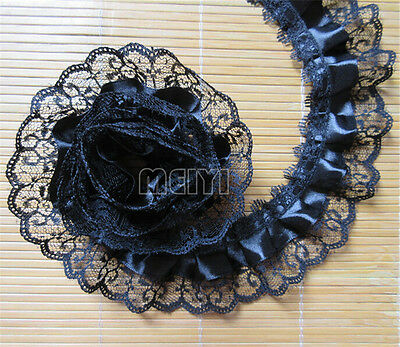 5 Yards Black 2-layer Pleated Organza Lace Edge Trim Gathered Mesh Ribbon Sewing