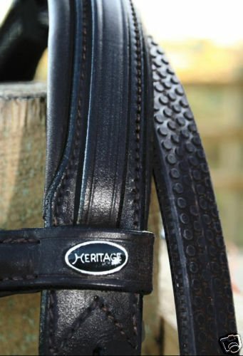 Patrimonio Inglese Pelle Nera Comfort Imbottito sondaggio Flash Capezzina Briglia Pony