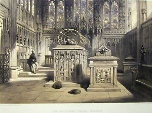 Cattermole-Original-1858-Color-Lithograph-BEAUCHAMP-CHAPEL-WARWICK-11-by-17